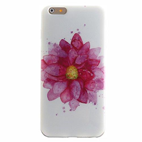 Nancen Apple iphone 5 / 5S (4,0 Zoll) Ultral Slim Weich TPU Silikon Case / Hülle / Handyhülle Backcover. Anti-Kratz und Anti-Staub. Große rosa Blume