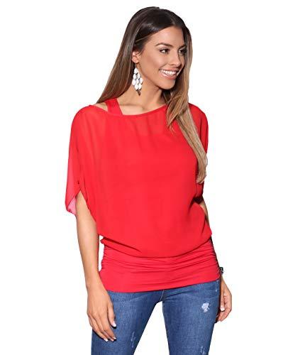KRISP Damen 3559 Bluse, Rot 4, 40 (Herstellergröße: 12)