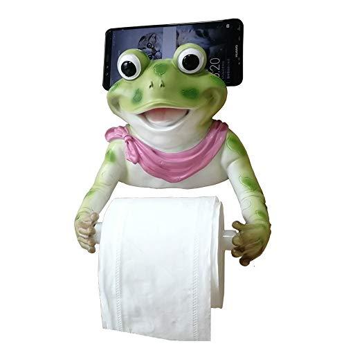 16LYP Cartoon Frosch Toilettenpapierrollenhalter Wandhalter Harz Saugnapf Toilettenpapierspender mit Handyablage Kleber Handtuchhalter für Bad Küche Shop Hotel Dekor lichtgrün