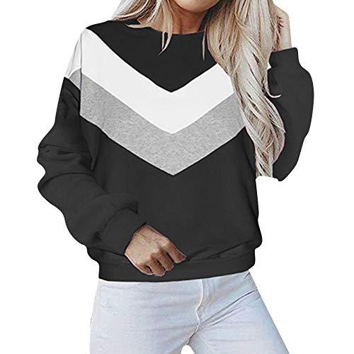 SANFASHION Sweatshirt Femmes Casual Haut Manche Longue Patchwork Pull Chic Blouse Chemises Mode Automne Hiver(Noir,S)
