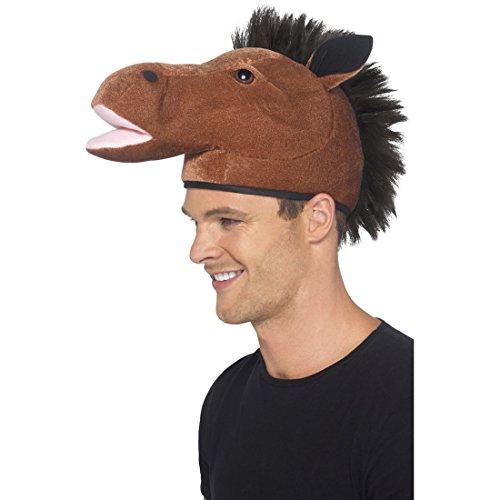 Pferdekopf Karnevalsmütze Faschingsmütze Pferd Tier Kopfbedeckung Plüschmütze Gaul Tiermütze Plüsch (Lustige Pferdekopf Kostüm)