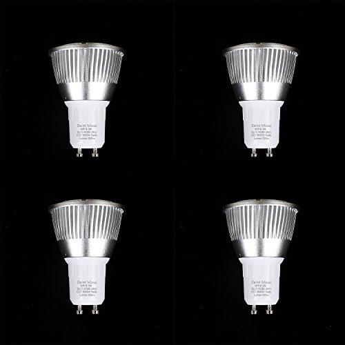 Saint Mossi GU10 LED Glühbirnen, 50W Halogenbirnen gleichwertig, 3W, 200lm, 120 ° Strahlwinkel, 6000K Tageslicht Weiß, MR16, LED Glühbirnen, Packung mit 4 Stück