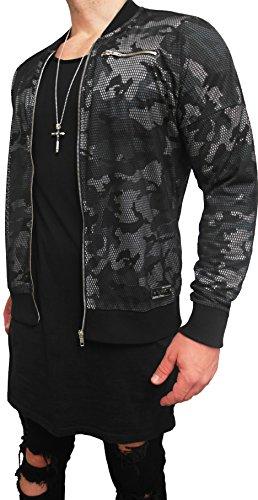 LIGHT BOMBERJACKE CAMOUFLAGE mit Netzüberzug Bomber Jacke Herren black biker motorrad Designer Blouson Sweat men leather jacket steppjacke...