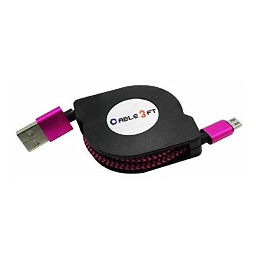 Sannysis V8 Micro USB to USB Sync cable retráctil de datos de carga, color rosa