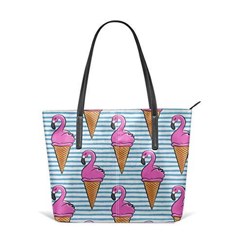 Damen Schultertasche aus weichem Leder Flamingo Ice-Cream Cones - Blue Stripes LAD Fashion Handtaschen Umhängetasche - Stripe Zip Satchel