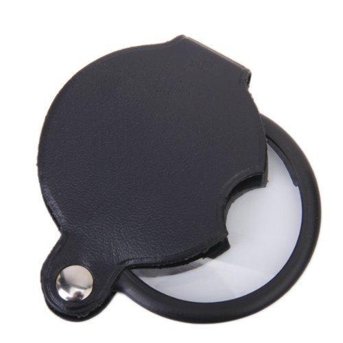 ETHAHE Schwarz 48mm Pochet Spiegel PU Ledertasche Optisches Glas 5x Faltbar Lupe