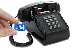 Opis PushMeFon Mobile - Retro Tischhandy in Form eines achziger Jahre Tastentelefons mit echter Metallklingel (schwarz)