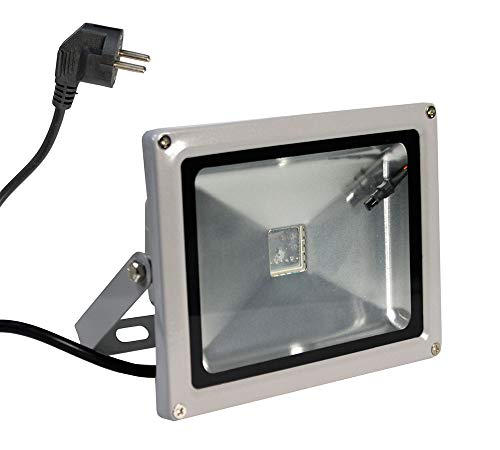 Vetrineinrete® Faro Led proiettore RGB 20 watt 19 led illuminazione per esterno IP65 luce colorata con telecomando staffa G72