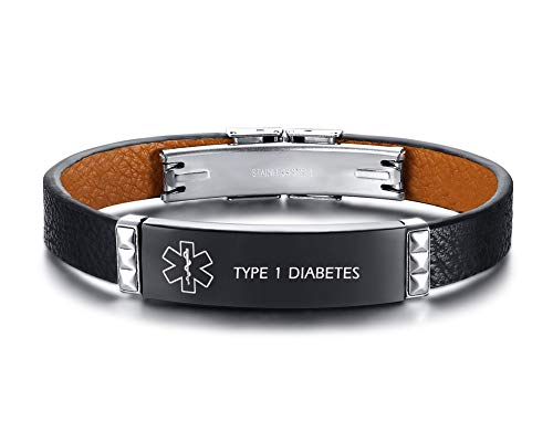 XUANPAI Edelstahl Leder Material Armband Medical Alert Notfall Customized ID Armband Geschenk für Männer Graviert mit Type 1 Diabetes