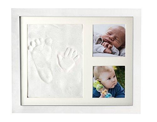 Baby-Fotorahmen für Handabdruck und Fußabdruck-Set inkl. Bilderrahmen mit Platz für 2 zusätzliche Fotos, Abdruckmasse aus Ton, weißer Holzrahmen mit ECHTGLAS