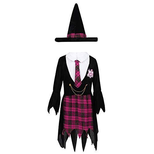 dPois Kinder Mädchen Hexe Verkleidung Outfits Set Mantel Kleid und Hexenhut Kinderkostüm für Halloween Party Karneval Fasching Schwarz+Rosarot 104-116/4-6 - Zauberschule Hexe Kostüm