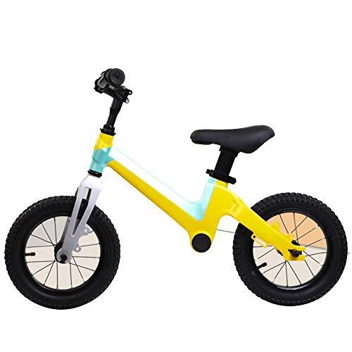 YUMEIGE Laufräder Kleinkind Laufrad Magnesium Tragkraft 30kg Kein Pedal Fahrrad Einfache Montage Laufräder Dreischichtreifen Verschleißfeste Dämpfung Rosa Gelb (Color : Yellow)