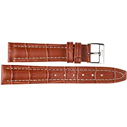 Leather Watch Strap 20mm Imperial Watches Leather Watch Band Tan 20mm Buckle: White