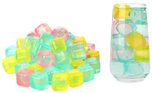 com-four® 72x Wiederverwendbare Eiswürfel in verschiedenen Farben [Auswahl variiert] - Party-Eiswürfel zum Kühlen von Getränken (72 Stück - Würfel V2)
