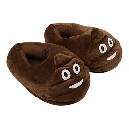 YUMOMO Unisex Herren und Damen nett Cartoon weichem Plüsch warme Pantoffeln schlüpfen 35-42 defäkieren, braun