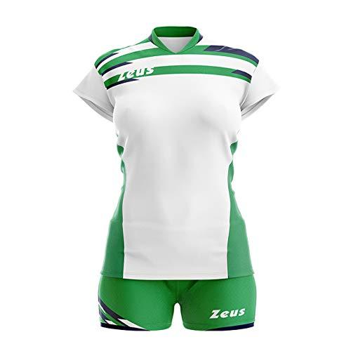 Zeus Kit Itaca Donna Damen Volleyball Trikot Hose Shirt Indoor Handball Training Ausbildung Weiss-Grün-Blau (L)