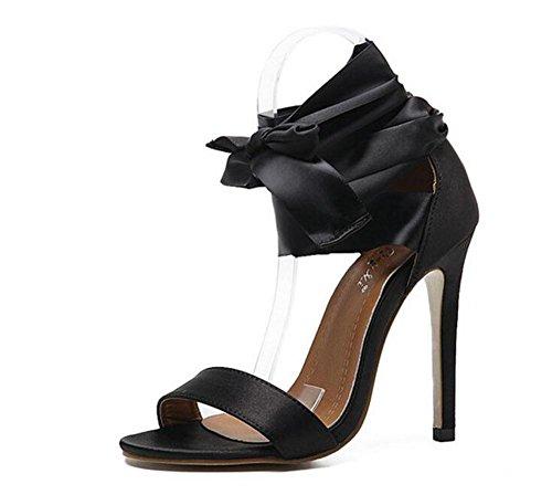 GLTER Donne sandali punta aperta Charme nastro bowknot pistoni dell'alto tallone cinturino alla caviglia pompa i pattini Mary Jane Black Black