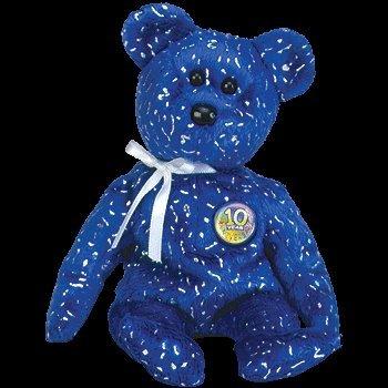 Ty Royal Blue Beanie Baby - Decade the Bear -