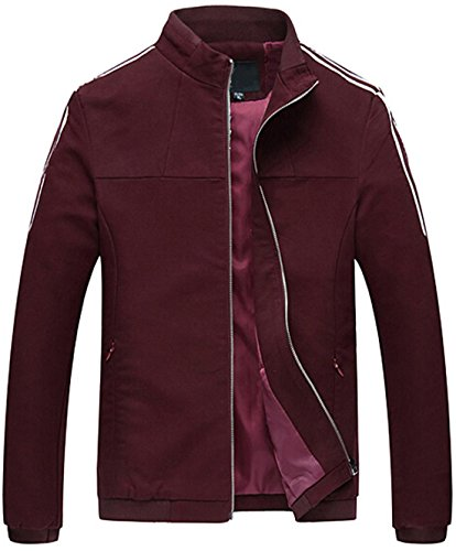 Jeansian Hommes Manteau Classic Fashion Zipper Manches Longues Casual Jacket 9406 WineRed