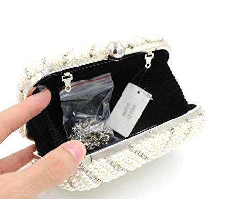 Damen Abendtasche Armband Perle Abendessen Pack Brautkleid-Beutel-beweglicher Partei-Beutel White
