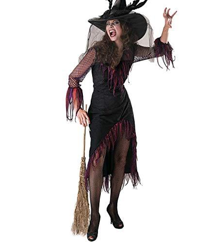 KarnevalsTeufel Damenkostüm Hexe Feodora Hexen-Kostüm 1-TLG. Kleid Hexen-Kleid schwarz Schwarze-Hexe (42)