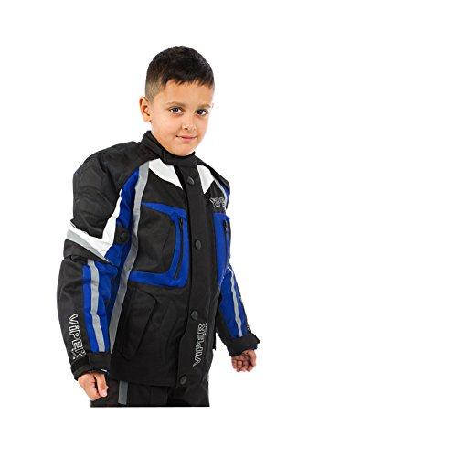Motorradjacke für Kinder VIPER DRACO CE Rüstung Textiljacke Schwarz/Blau (10-11 Jahre)