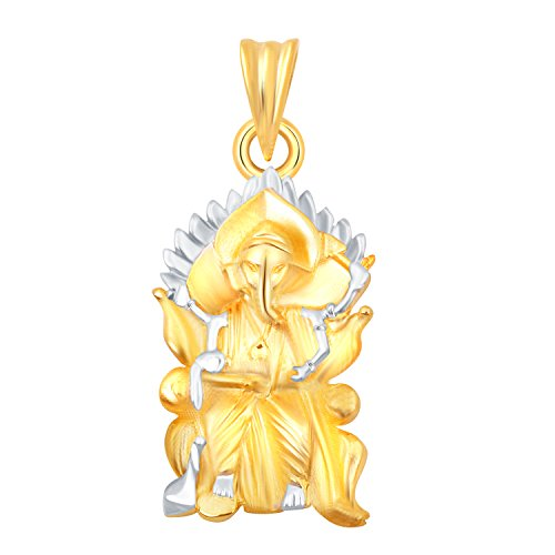 Vighnaharta Lalbaugcha Raja Plain Gold and Rhodium Plated Alloy Pendant for Men, Boys and Women - [VFJ1099PG]