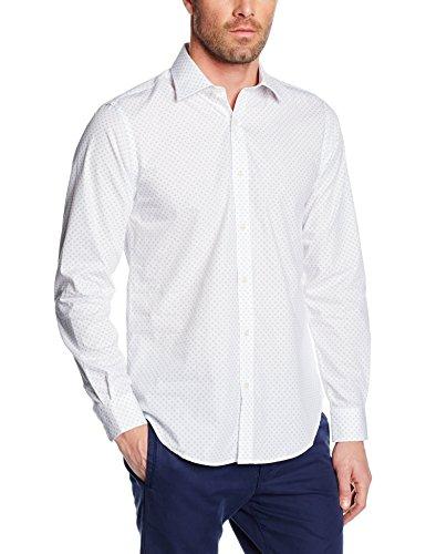 Cortefiel Herren Hemden Vestir Estampado Fondo Bl Weiß