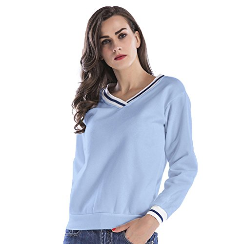 Damen Pullover, BBring Frauen Mode Striped Trim V-Ausschnitt Tops Bluse Sweatshirt (XXL, Blau) (Jumper Trim)
