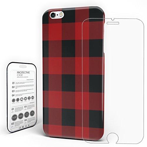 Slim PC Rot und Schwarz Buffalo Plaid Handy Tasche Schutz Hülle, Wasserdicht, mit gehärtetem Glas Displayschutzfolie, iPhone6 Plus/iPhone6S Plus, (Rot Weihnachten Plaid Schuhe)