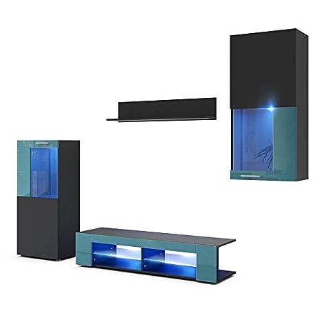 Wohnwand Anbauwand Movie, Korpus in Schwarz matt / Fronten in Schwarz matt und Petrol Hochglanz mit blauer LED Beleuchtung