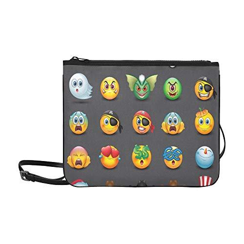ns Emoji Smiley Benutzerdefinierte hochwertige Nylon Slim Clutch Crossbody Bag Umhängetasche ()