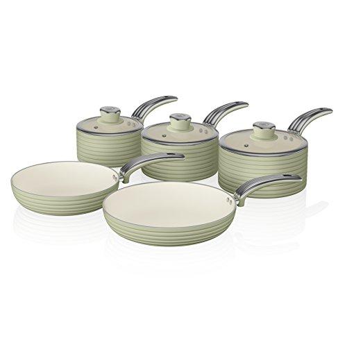 Swan Retro Pan Set with Easy Clean Non-Stick Ceramic Coating, Aluminium, Green, 5 Piece