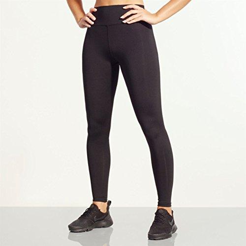 SportFX Damen Training Leggings Stretch Unifarben Leggins Tasche Schwarz L