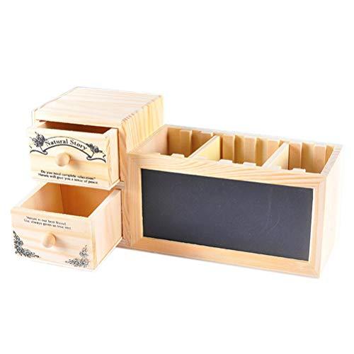 TOPBATHY Stifthalter Holz Multifunktionale Aufbewahrungsbox Container Memo Halter mit Tafel Schublade für Büro Desktop Deko