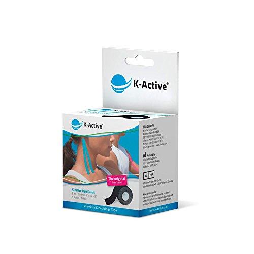 K-Active Kinesiologie Tape Classic SCHWARZ, wasserabweisend und hypoallergen, 50 mm x 5 m, 1 Rolle