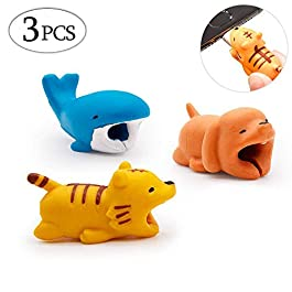 SPECOOL 3 Packs Cable Bite Protector Charge, Saver Cute Animal Bites Design Protects Protective Cable Case For all types of Phone and charger