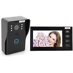 Elikliv 2.4G Interphone de Porte sans Fil Doorbell Vidéo Visiophone Sonnette de Porte Caméra Etanche Infrarouge Système de Sécurité pour Domicile avec Ecran 7 Pouces