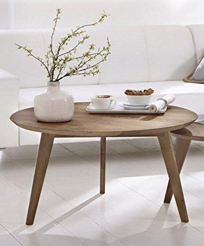 SAM Stilvoller Rundtisch, Couchtisch Olpe, 90 cm rund, Esstisch aus massiver Wildeiche, geölt, Tisch in natürlichem zeitlosem Design