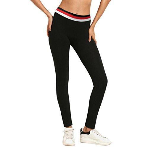 Yoga Leggings Sporthose für Damen 3/4 Yoga Leggings Hose Strumpfhose Active Running Hosen Workout Stretch High Elastic Yoga Hosen EVA (Schwarz, M) (Strumpfhosen In Voller Länge)