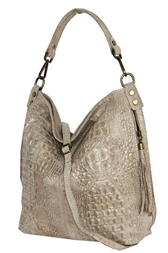 Shopper borsa, borsa a tracolla, Mod. 2107 pelle, croco-look Italy Talpa chiaro