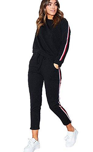 Minetom Damen Hausanzug Jogginganzug Trainingsanzüge Streetwear Langarm Rundhals Hoodie Sweatshirt ( Pullover+ Hose) Schwarz EU XS (Bedruckte Top Baumwolle Gummi)