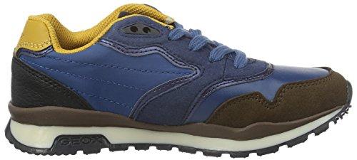 Geox J Pavel C, Baskets Basses Garçon Blau (BLUE/YELLOWC0072)