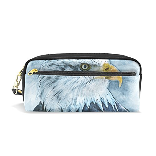 Eslifey American Bald Eagle Tragbare Tasche PU Leder Schulstifteetui, Stifteetui, Stifteetui, für Kinder, wasserdicht, Kosmetiktasche, Make-up, Beauty Case (American Eagle Geldbeutel)