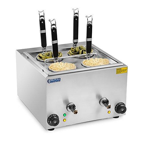Royal Catering RCNK-4 Nudelkocher Pastakocher Elektrisch Gastro (4 L, 4 Körbe, 2 x 1500 W, 230 V, 30-110 °C, Ablasshahn, Edelstahl)