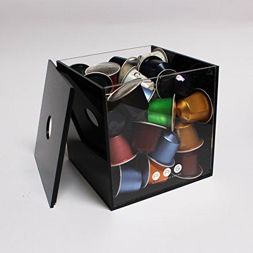 .:plexiartglass:. porta capsule cubo con coperchio trasparente-nero in plexiglass made in italy