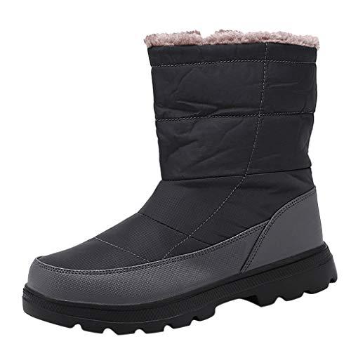 COZOCO Herren Plus Samt Winter Stiefel Wasserdicht Gesteppte Baumwolle Stiefel rutschfest Flache Schneestiefel Seite Reißverschluss Knöchel Stiefel Freizeit Stiefel(Grau,43 EU) -