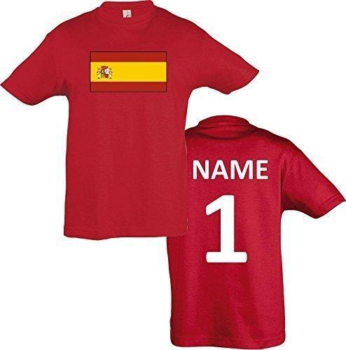 Kids T-Shirt Spanien Spain Ländershirt mit Wunschnamen und Nummer diverse Farben, Farbe rot, Größe 152
