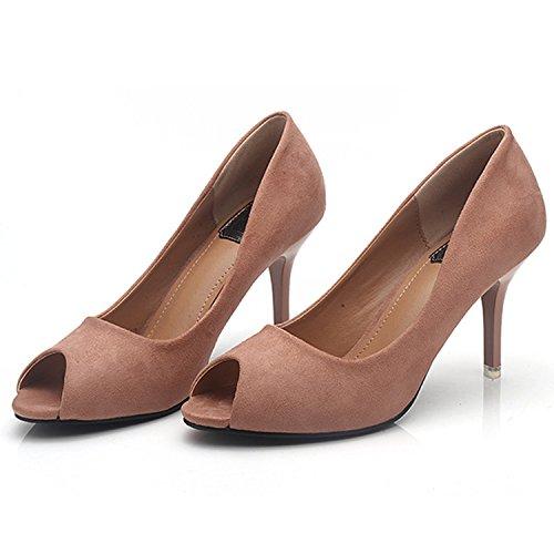 Oasap Women's Low Cut Peep Toe Slip on Stiletto Pumps Black