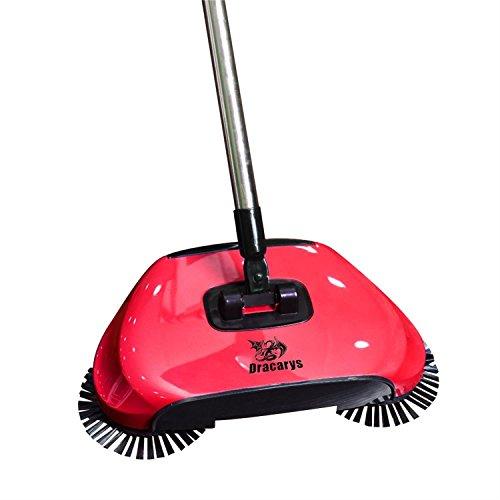 Dracarys Pigro 3 in 1 Di Pulizia Della Famiglia Mano Spingere Automatico Scopa - Compreso Scopa & Paletta e Cestino - Cleaner Senza Elettricità Ambientale (rosso)